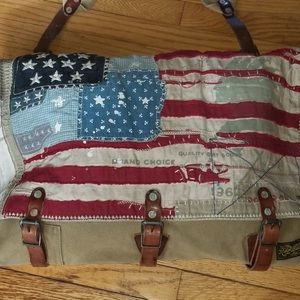 Ralph Lauren canvas messenger bag w USA flags